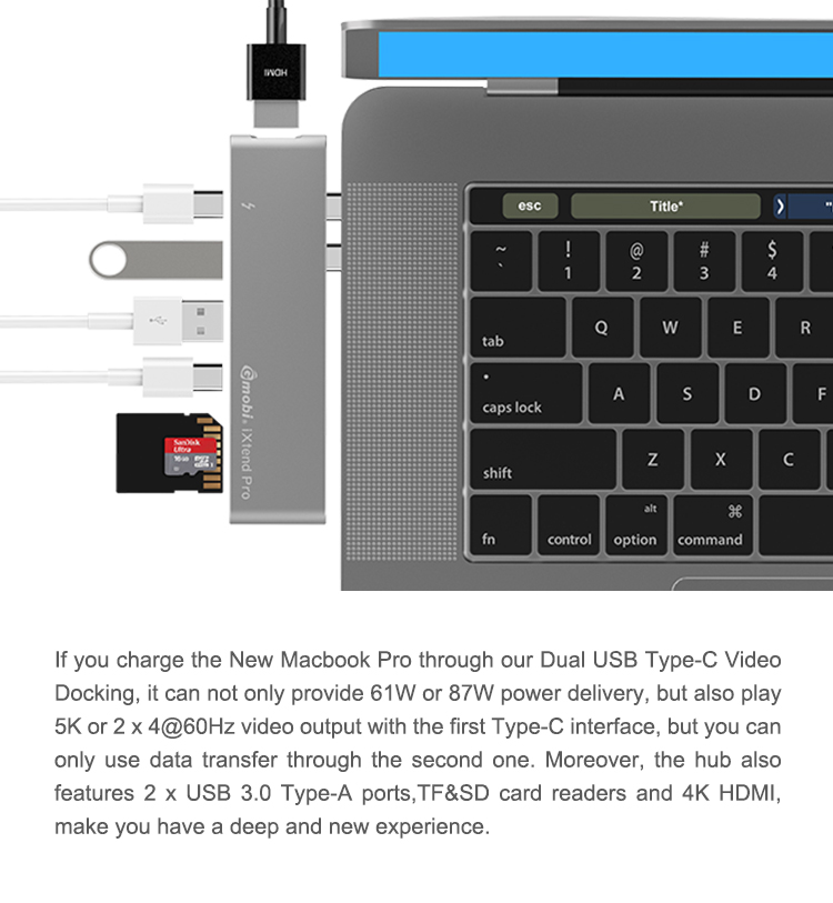 "2017 USB C to C-HD MI-USB3.0-SD-type c, Dual Thunderbolt 3 & Type-C Hub for 13"" & 15"" MacBook Pro GN28K MFi Lisence"