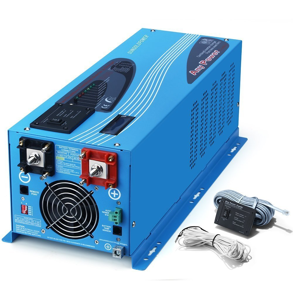 Gomistar 2000W Peak 6000W Pure Sine Wave Power Inverter DC 12V AC 110V With Battery AC Charger LCD Display Low Frequency Solar Converter BTS+Remote Control AC Priority Battery Priority Switch