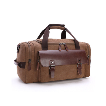 1df0091 Vintage Stylish Durable Duffel Bag Holdall Weekend Gym Travel Luggage Canvas Leather Duffle