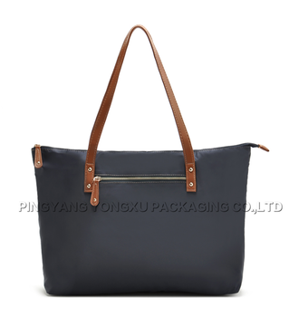 China Whole Handbags Brands Bags Zipper Promotional Las Nylon Gifts Tote With Leather Handle
