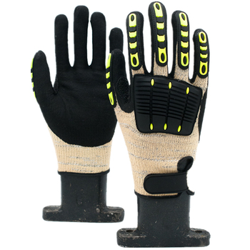 GLOVEMAN  Hppe liner with TPR chips on back with magic buckle impact resistant and level 5 cut resistant work gloves