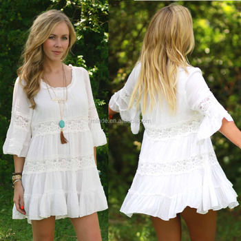 3/4 sleeve Summer women crochet dress,Custom fashion summer rayon lace trimming dress casual new design OEM plus size lady S-4XL