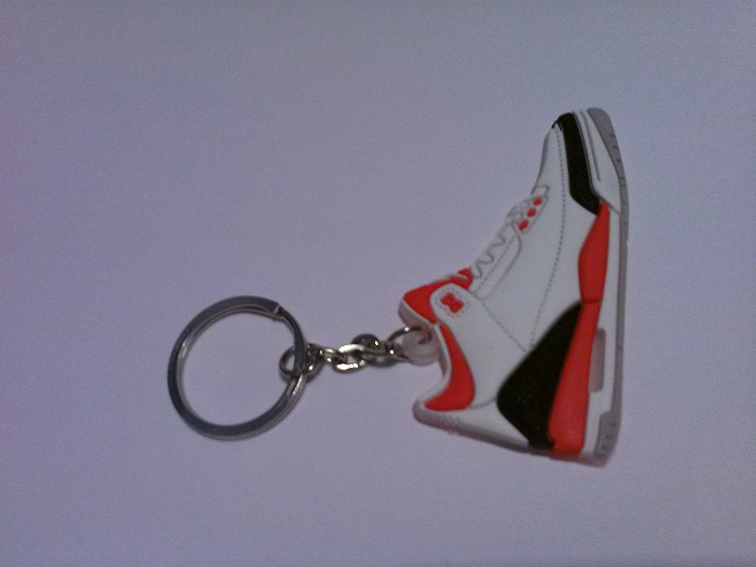 Air Jordan III/3 Cement 88 Fire Red/White/Black Chicago Bulls Sneakers Shoes Keychain Keyring AJ 23 Retro