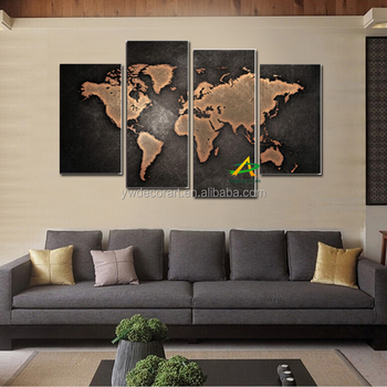 4 Pieces Canvas Wall Art Abstract Painting World Map Canvas Prints Wall  Picture For Living Room Part 42