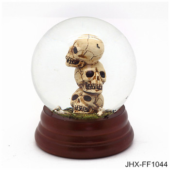 halloween party souvenir skull skeleton head glass surface resin water globeunique snow globes