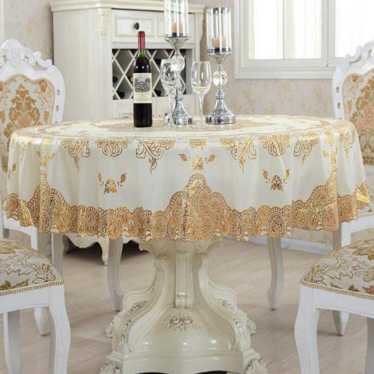 PVC lace with gold 132 round table cloth table runner