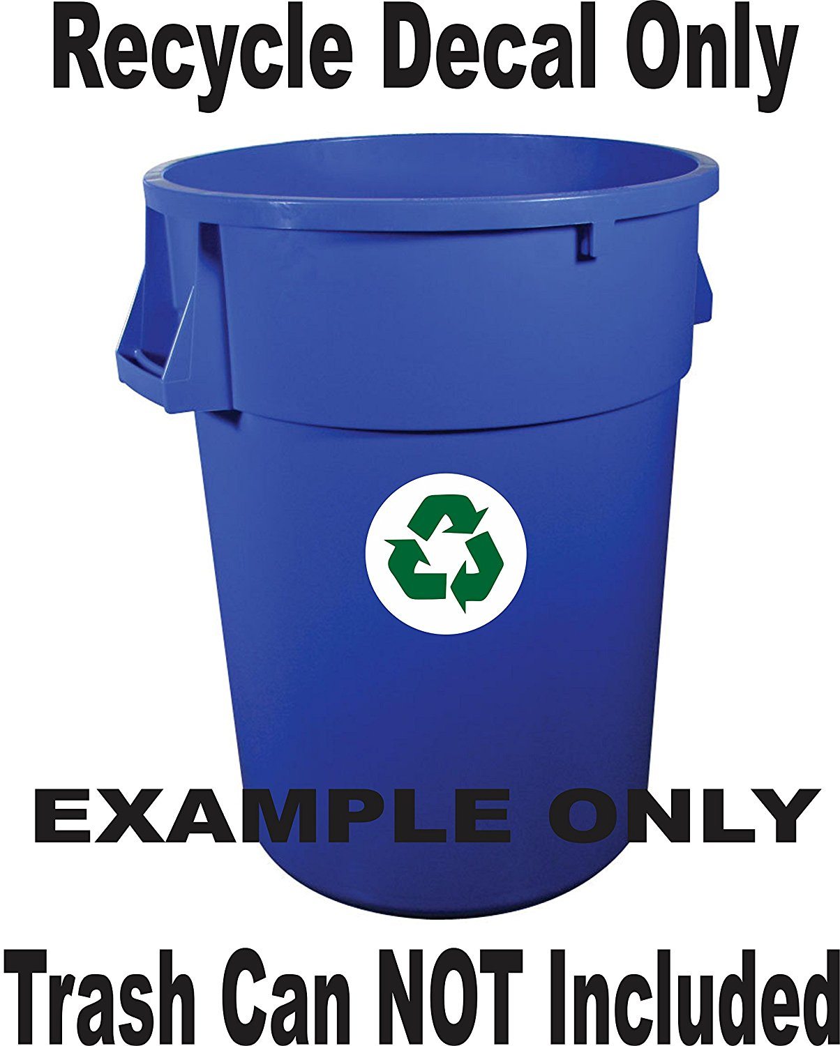 Recycle Symbol Round with Recycle Overlay Decal Sticker Trash Cans Recycle Bins Recycle Containers (5 Inches Round, Green Over White)