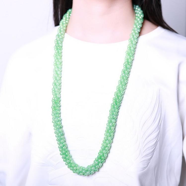 N1735 Grises perlas de Cristal Hechos A Mano regalos de joyas bisutería collar Largo 2016 diamante