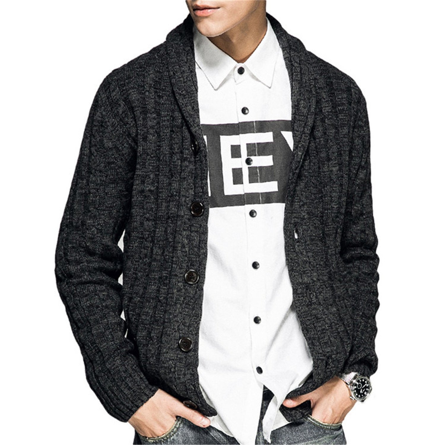 56daba5cb4 Get Quotations · Jeremy Martin Autumn Winter New Men s Thick Cardigan  Sweater Fashion Casual Cotton Slim Knitted Jacket
