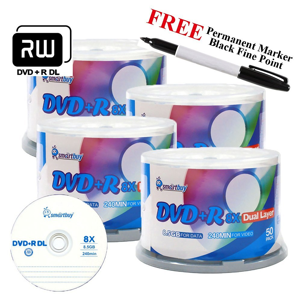 Smartbuy 200-disc 8.5GB/240min 8x DVD+R DL Logo Top Blank Media Record Disc + Black Permanent Marker