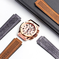 QIALINO 25*19mm Full Grain Leather For Hublot Watch Band Strap Band