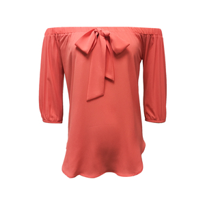 New Fashion Women 100% Polyester Casual Off Shoulder Three Quarter Sleeve Salmon Color Blouse with Front Bow