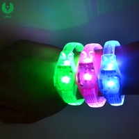 Night Club Accessories Multicolor Flashing Led Twinkle Wristbands With Logo Printed For Concert