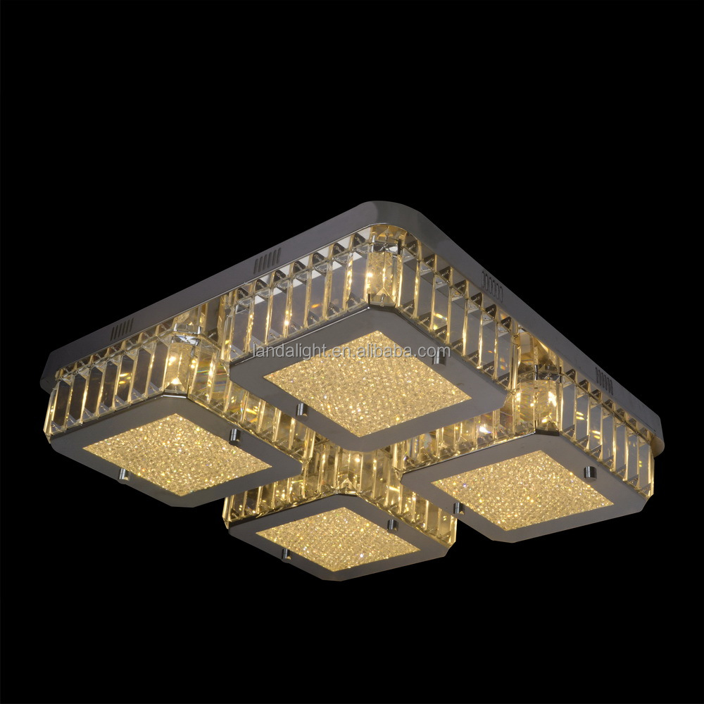 Traditional Led Flush Mount Ceiling Lights Crystal & Stainless ...