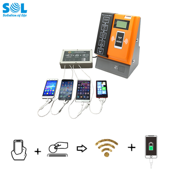 Coin Operated Smart Cell Mobile Phone Charging Station Kiosk