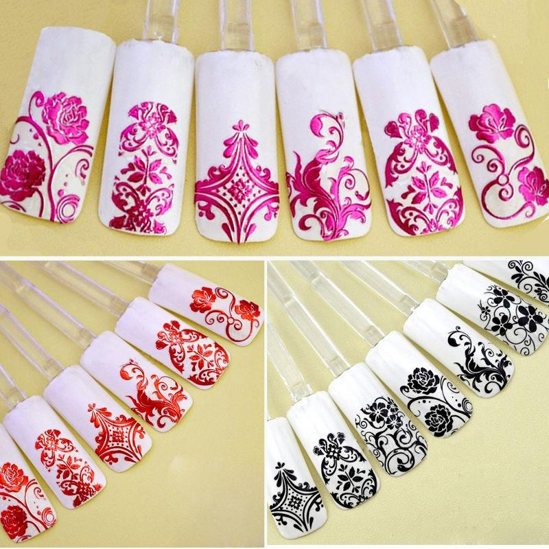 Top Nail 108 Design Gold Foil Flowers Stickers For Nails 6 Color Metal Bronzing Decal 3D