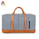 Fashion PU Leather Trim Canvas Overnight Bag Large Weekend Travel Tote Bag