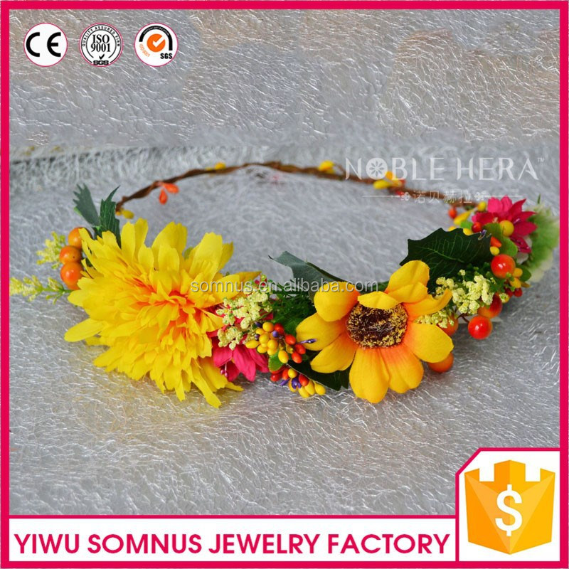 Artificial yellow daisy/chrysanthemum flower bridal <strong>hair</strong> wedding <strong>accessories</strong>