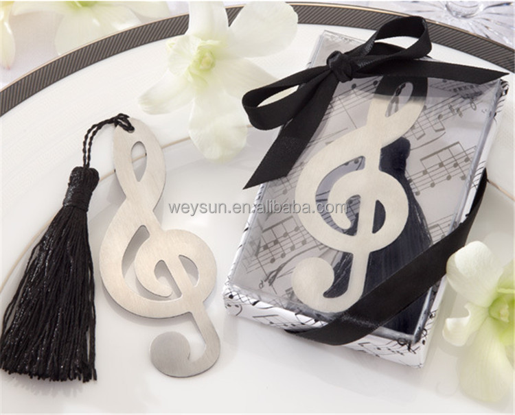 Hollow Musical Notes Bookmarks <strong>Metal</strong> With Mini Greeting Cards Tassels Pendant Gifts Wedding Favors With Retail Box