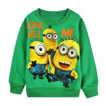 New 1pcs baby boys girl Cartoon design round minion collar fleece children wear Hoodies Sweatshirts Children's clothes