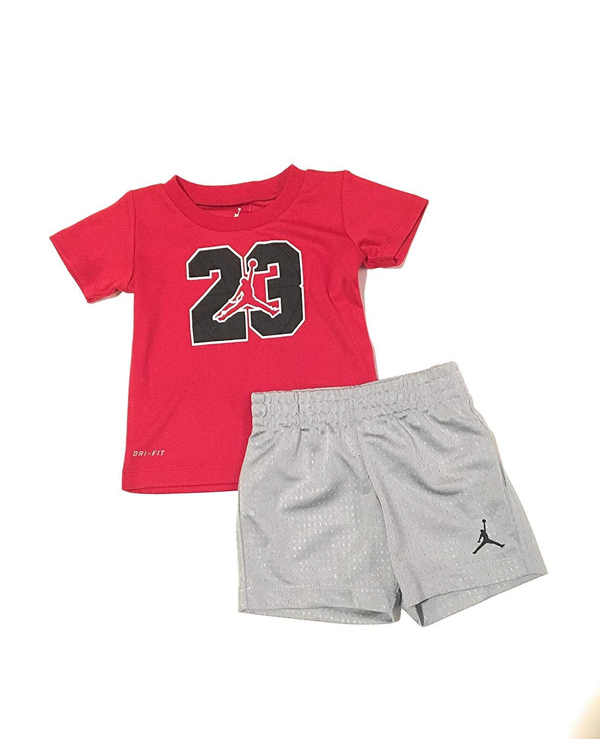 472f99d7a10 Get Quotations · Jordan Jumpman 23 Logo T-Shirt and Short Set Wolf Grey  Size 12 Months