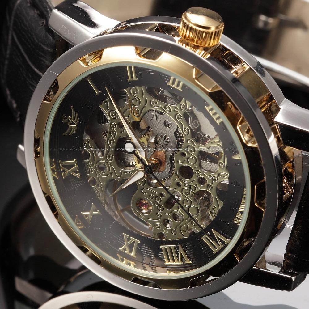 black gold male clock men relogios skeleton mens watches. Black Bedroom Furniture Sets. Home Design Ideas