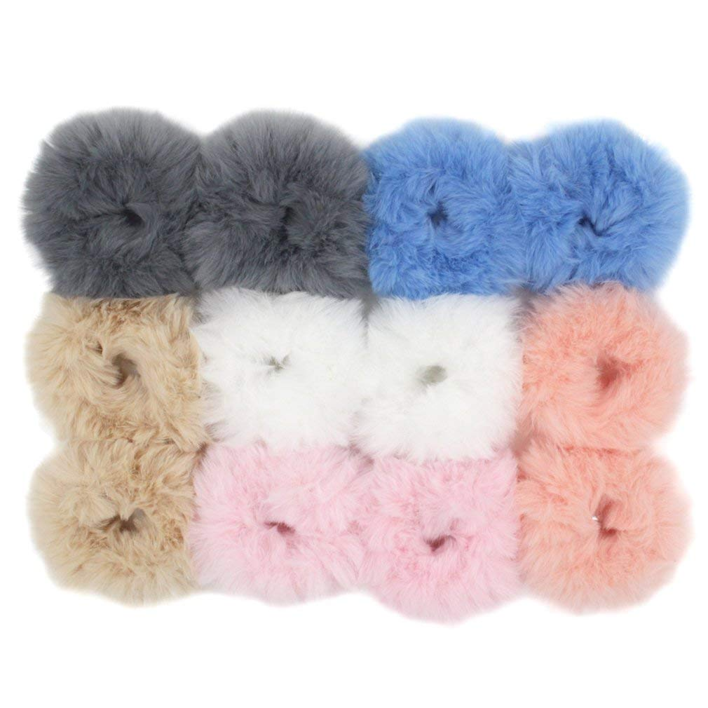 Set of 12 Fuzzy Furry Artificial Rabbit Fur Faux Fur Hair Band Rope Hair  Holder Wristband 7961f442bbb
