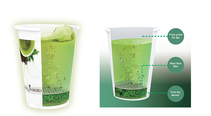 Green tea type and Distinctive Recycled printed Paper Tea Cup with green Tea Inside - 4uTea | 4uTea.com