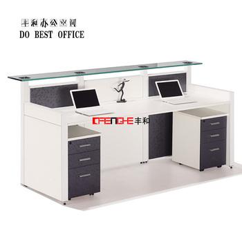 Nice Modern Design Aluminum Alloy Partition 2 Person Office Reception Desk