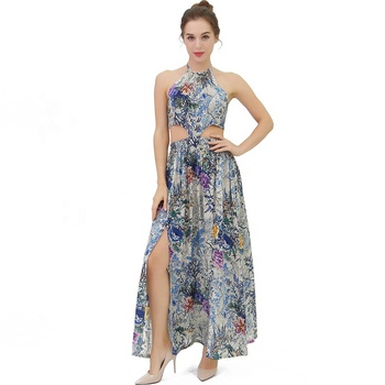 New Style Long Floral Print Elegant Blue Ladies Sexy Beach Summer Women Clothes Dress