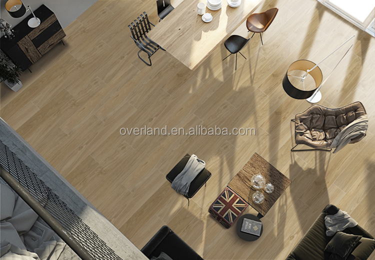Large size ceramic faux wood grain effect tile flooring