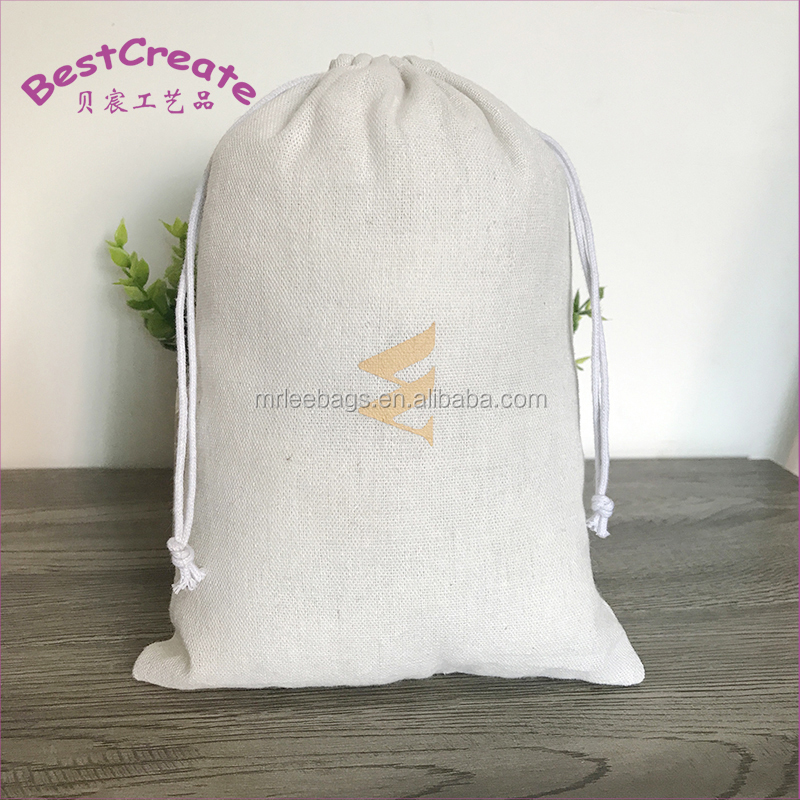 Custom printed drawstring cotton linen produce bags for food and vegetable