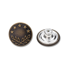 Custom retro embossed logo brass metal button for jeans
