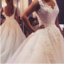 2016 Wedding Dress Princess Floor Length Sweetheart Ball Gown Wedding Dress See Trough Back vestido de novia