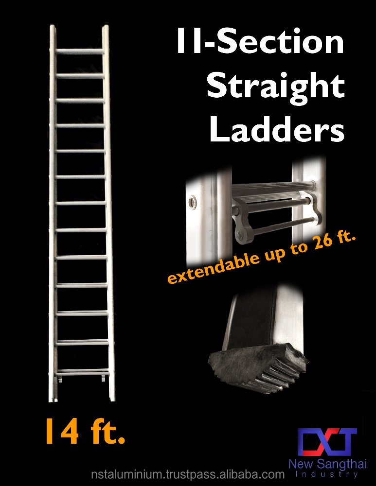 Aluminium 2 Section Straight Ladders 14 Ft