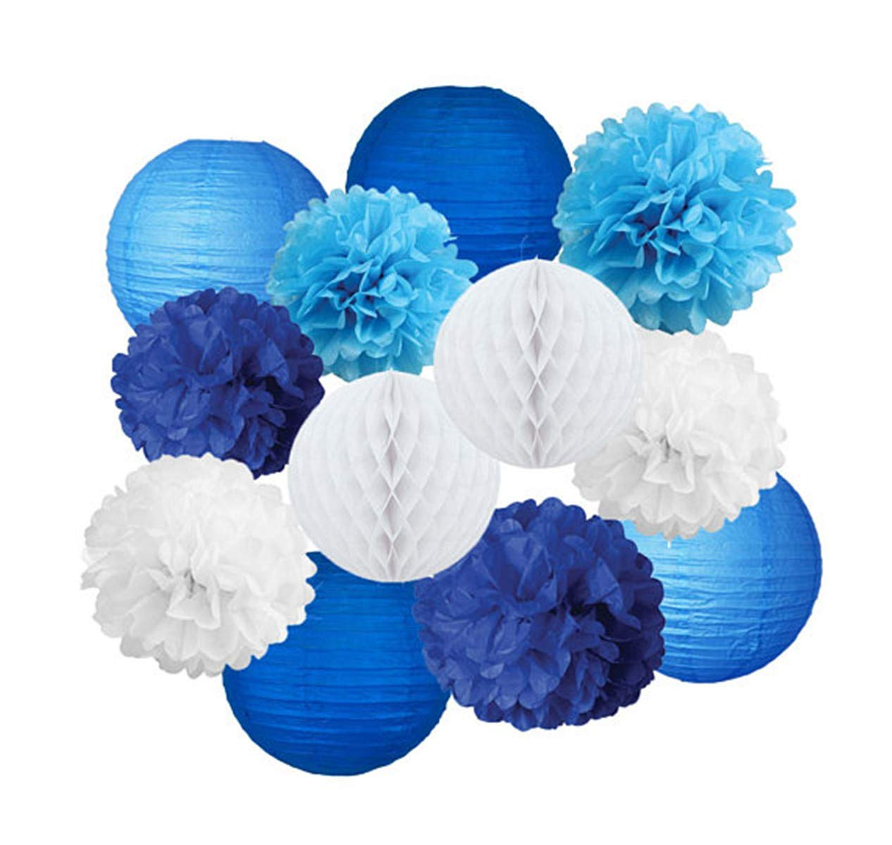 Navy Turquoise White Party Tissue Poms & Lantern Delux Set-DIY Boys Party Set, Paper Lantern| Blue Baby Shower |Blue Birthday Theme