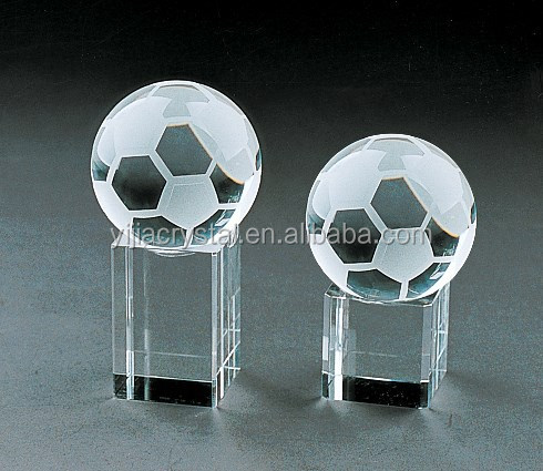 crystal football with short base for desktop decoration glass football