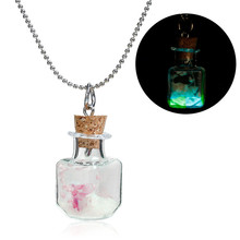 Fashion Silver Tone Fuchsia Shell 42.5cm long Glow In The Dark Transparent Glass Square Bottle Dried Flower Necklace