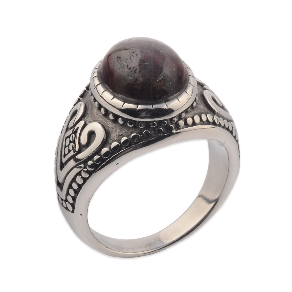 Men Silver Artificial Gemstone Natural Stone Ring