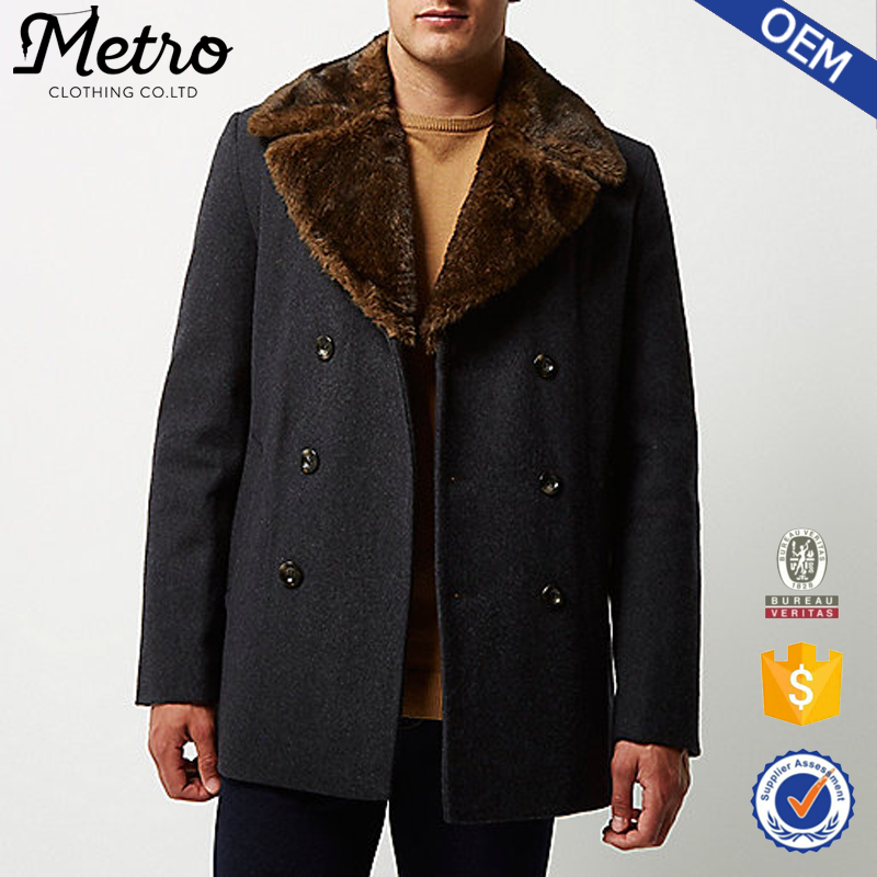 fashion Wholesale Custom Mens Grey faux fur collar pea coat