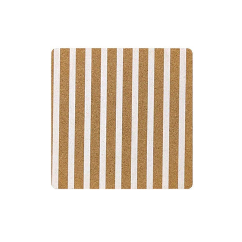 WCR Cork Board Tiles, Square Pin Bulletin Board Mini Photo Wall Board, Decorative Cork Board Great for Home Office and School, One Piece Pack (White Stripes)