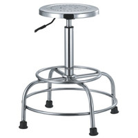 Lab Swivel Stool in Stainless Steel