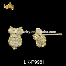 Gold jewellery dubai style simple design wedding 14k gold filled owl earring earring parts