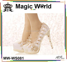 Ladies Shallow Mouth Single Lace White Wedding Shoes With High Heel
