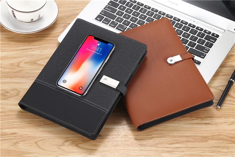 2019 promosyon hediye hızlı şarj pu notebook powerbank ile
