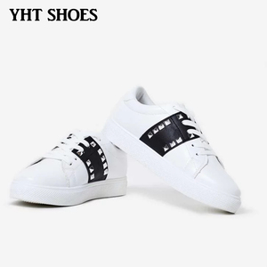 China Wholesale Women White Waxed Studded Running Trainers Sneakers Shoes