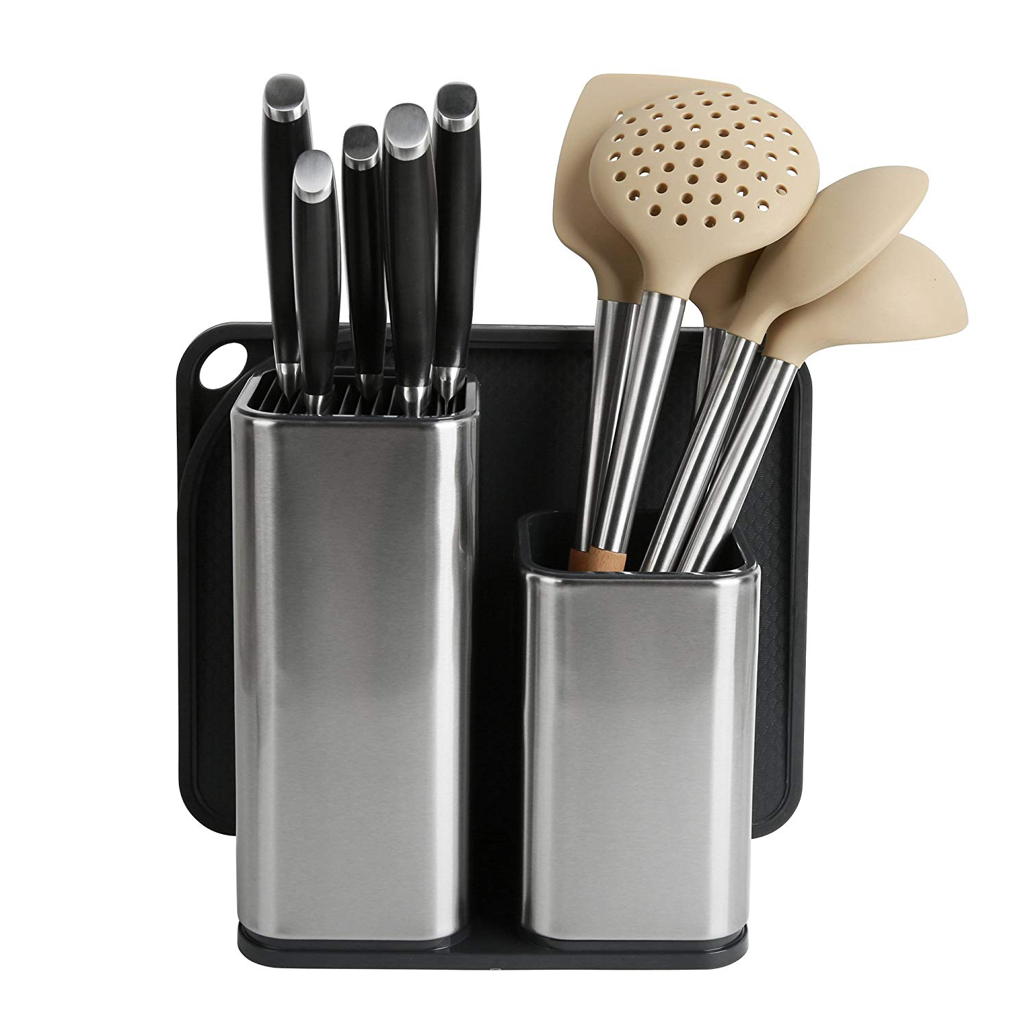 Get Quotations Elfrhino Utensil Holder Stainless Steel Kitchen Tool Knives Block Container Flatware