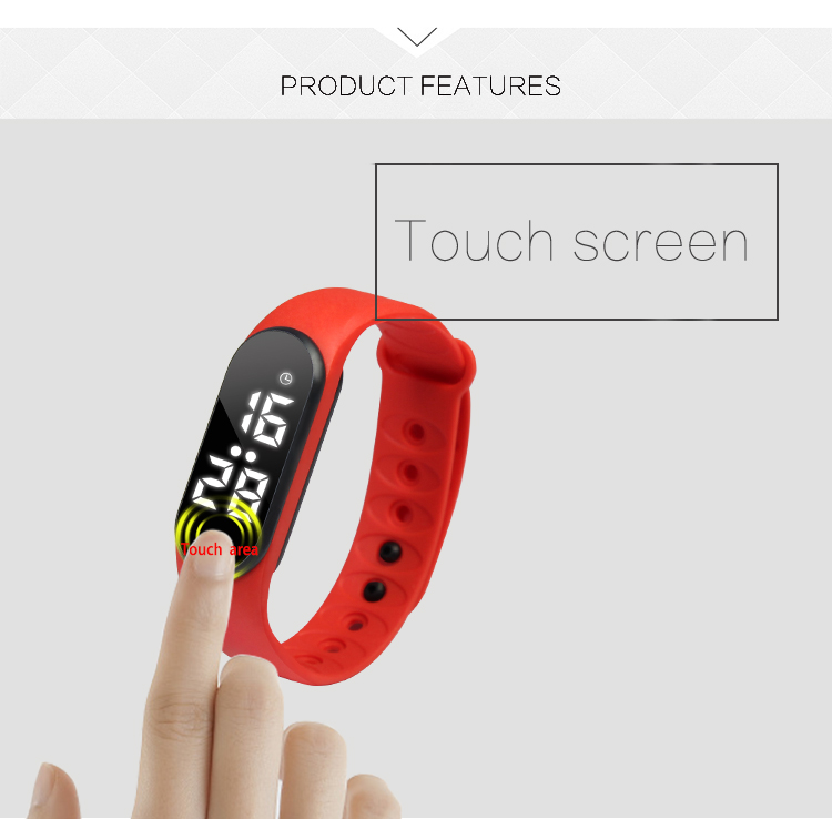 custom logo silicone rubber vibrating alarm bracelet fitness tracker watches men wrist