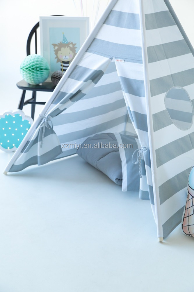 children kids play indian teepee <strong>tent</strong> grey stripe kids photography toy <strong>tent</strong>