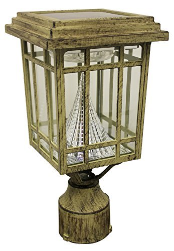 Gama Sonic Prairie Solar Outdoor Lamp - Pole/Pier/Wall Mount Kit - Weathered Bronze Finish GS-114FPW